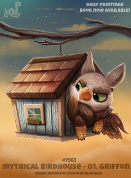 Daily Paint 1961# Mythical Birdhouse - Griffon by Cryptid-Creations