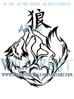 Kanji Wolf Tribal Design by WildSpiritWolf