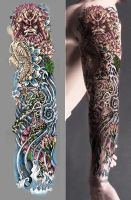 Japanese Tattoo Sleeve colored by T3hSpoon
