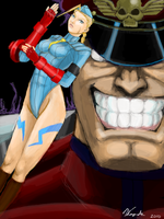 Killer Bee and M. Bison by VampireMell