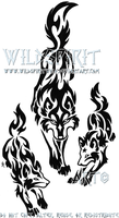 Tribal Wolf Mother And Pups by WildSpiritWolf