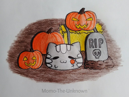 Mewchi And Pumpkins by Momo-The-Unknown