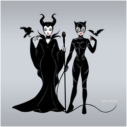 Maleficent and Catwoman by daekazu