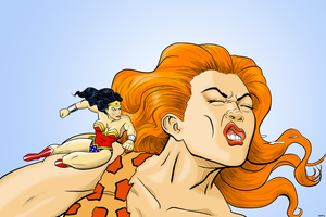 Wonder Woman Vs Giganta by MightyFooda