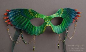 Emerald Wings Leather Mask with Beads by windfalcon