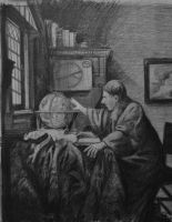 The Astronomer - Vermeer Copy by WickedOffKiltah