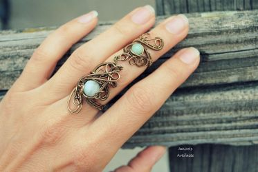Wire wrapped armor ring with Amazonite by IanirasArtifacts