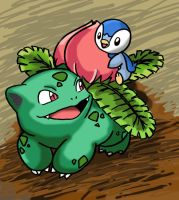Ivysaur and Piplup by Angle-007