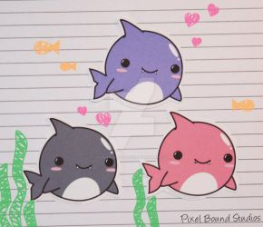 Chibi Shark Stickers by pixelboundstudios