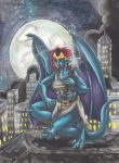 Gargoyles New York at Night by WaldelfLarian