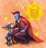 Yondu and Rocket by kandagawagufu