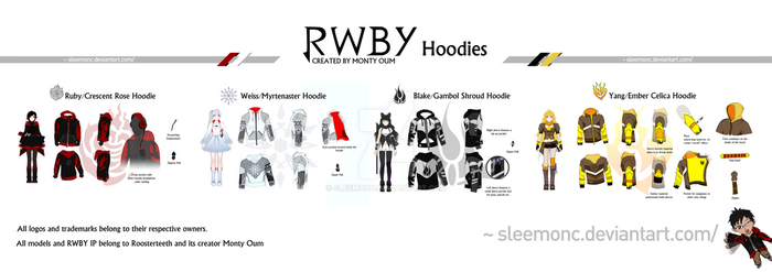Team RWBY Hoodie Collection by Sleemonc
