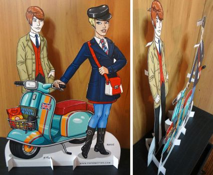 Mod, Mod Scooter Couple Paper Dolls by Shannanigan