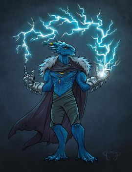 Commission: Blue Dragonborn Sorcerer by star-anise