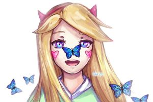 Star butterfly with a butterfly by azuffs