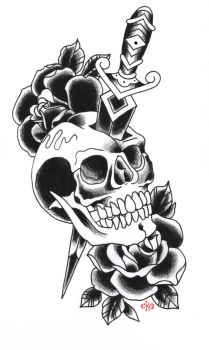 Old school skull with dagger by c-ko