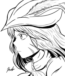 Red Mage Line Art by Kxela