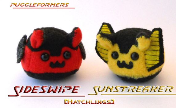 Puggleformers - Hatch Sunstreaker and Sideswipe by callykarishokka