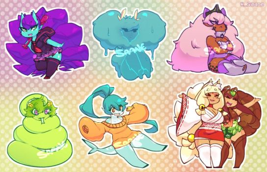 Monster Girls - Sticker sheet by Saane