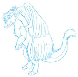 Avalon Dragon Rough Sketch by Quachir