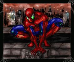 Spiderman Over the City by Robert A. Marzullo by robertmarzullo