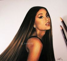 Ariana Grande with her hair down by kreativityart