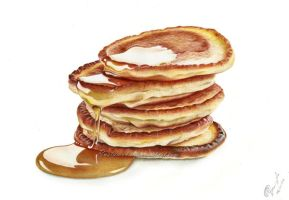 Pancakes and honey drawing by Rustamova