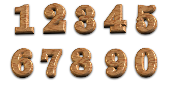3D Polished Wooden Numbers With Transparent Backgr by PLACID85