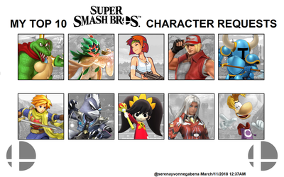 My Top 10 Smash Bros. Character Requests by StarwindArts