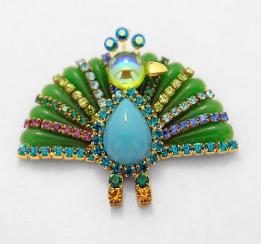 Percy the Peacock Brooch by Moon-Bubbles