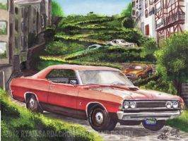 1969 Ford Fairlane Cobra On Lombard Street. by FastLaneIllustration