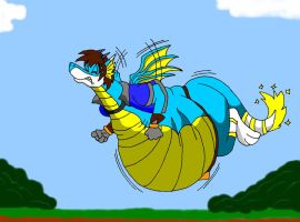 fat Drago try to fly by HectortheWolf