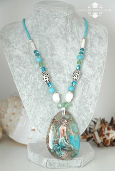 Sea Mist handpainted mermaid necklace by Mocten