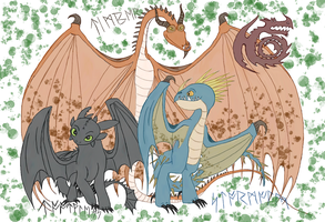 Secret Odin Gift- Timber, Toothless, and Stormfly by AlkryEarth17