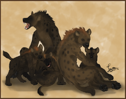 Hyena Family by KeksWolf