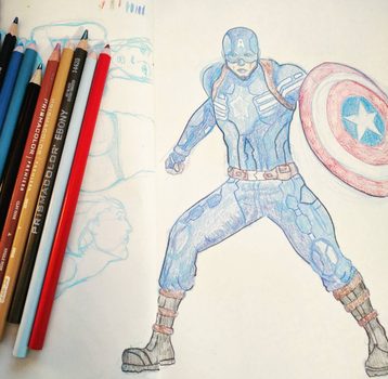 Captain America in Prismacolor Pencil by buffydoesbroadcast