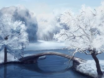 UnspeedyPaint: Snow, Trees and Water by yuiseppe