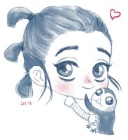 Rey and the porg by missxlau