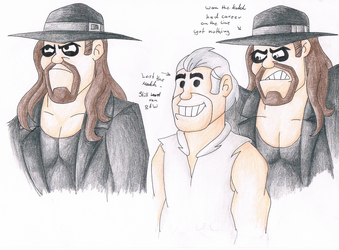.:[COLORED DOODLES] CAVEMEN TAKER AND SHANE:. by Maniactheleader