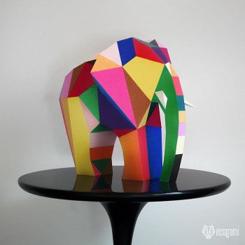 Abstract paper elephant sculpture by EcogamiShop