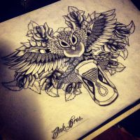 InkBrothers Owl/Time Backpiece by InkBrothersNL