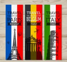 3 Colored  Famous Scenic Spots Banner Vector by FreeIconsdownload
