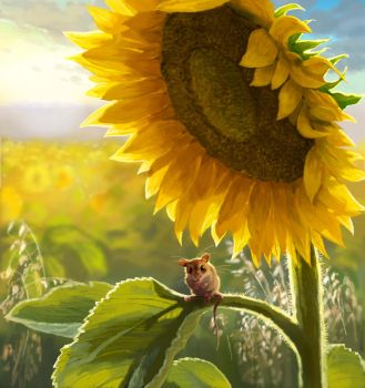 Little Mouse in Sunflower Field by JeremyNorton