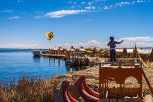 Kite Flying Uros Islands, Peru by TarJakArt