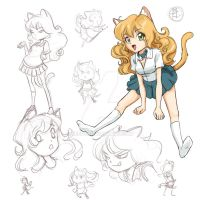 Kitty Girl Sketches by keevs