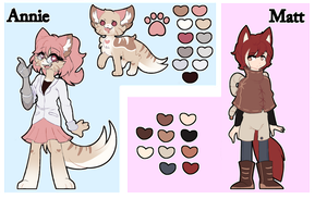 A Loud cat and a shy boi - Ref sheet by Azzy-s2