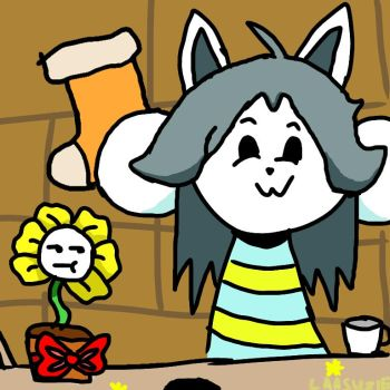 Temmie and Floweh!!! OwO by laasuzie