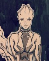 Inktober Mass Effect fan art - Biotic closeup by Shaya-Fury
