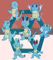 Hexafusion with Squirtle Totodile and Froakie by Draco-Digi