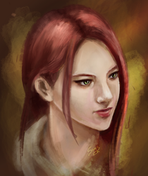 Red-haired chick by saystark